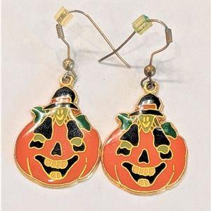 Jewelry - Vintage Pumpkin Witch Earrings Halloween Creepy